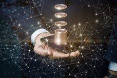 Bitcoins se acredita al teléfono Foto de archivo
