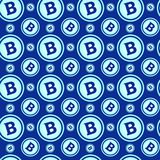 Bitcoins Seamless Pattern Crypto Currency Signs On Blue  Stock Image