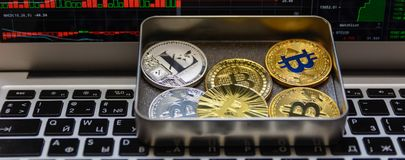 Bitcoins with silver litecoin lie in metal box on notebook keyboard. Golden and silver bitcoins with silver litecoin lie in metal box on notebook keyboard royalty free stock image