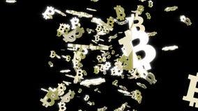 Bitcoins spada na czarnym tle ilustracja wektor