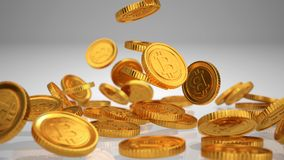 Bitcoins sparso illustrazione 3D Immagine Stock