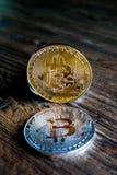 Bitcoins srebro i złoto Zdjęcia Stock