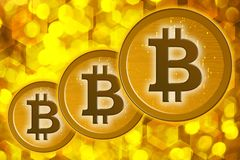 Bitcoins su un fondo dell'oro Immagine Stock