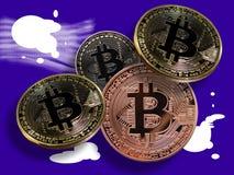 Bitcoins sur des éclaboussures Images stock