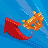 Bitcoins - virtual money. Symbol. Red arrow. Royalty Free Stock Image