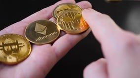 Bitcoins w rękach Ręczny przekalkulowanie bitcoin monety zdjęcie wideo
