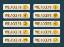 Bitcoins wordt hier goedgekeurd Pictogrammen in een vlakke stijl royalty-vrije illustratie