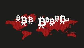 Bitcoins in the world Stock Photos