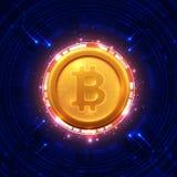 Bitcoins y nuevo concepto virtual del dinero Fotografía de archivo
