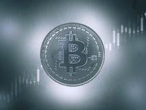 Bitcoins y nuevo concepto virtual del dinero Bitcoin azul fotos de archivo libres de regalías
