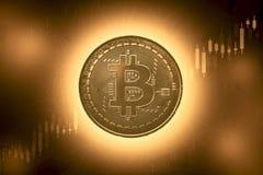 Bitcoins y nuevo concepto virtual del dinero Bitcoin del oro con la carta del gráfico del palillo de la vela y el fondo digital M foto de archivo libre de regalías