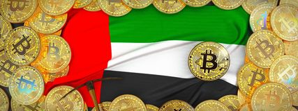 Bitcoins złoto wokoło Zlanej arab flaga, oskarda na lewicie i 3 Fotografia Royalty Free