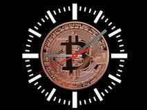 Bitcoins zegar Zdjęcia Stock