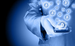 bitcoinsymbol Royaltyfri Bild