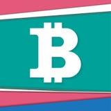 Bitcoinsymbool op modern achtergrondmateriaalontwerp Stock Afbeelding