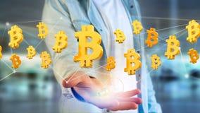 Bitcointeken die rond een 3d netwerkverbinding vliegen - geef terug Stock Foto