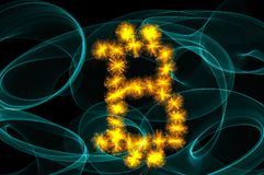 Bitcointeken over zwarte Royalty-vrije Stock Foto
