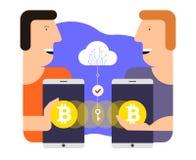 Bitcoinuitwisseling en overdracht Het conceptenillustratie van de Cryptocurrencytechnologie Royalty-vrije Stock Fotografie