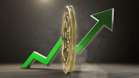 Bitcoinwaarde die stijgen 3d geef terug stock footage