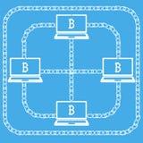 Bitcon del computer portatile di Blockchain Fotografia Stock Libera da Diritti