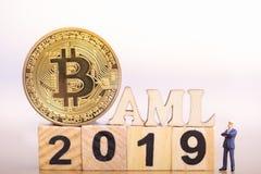 Bitcon et anti blanchiment d'argent photographie stock libre de droits