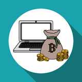 Bitcon icon design, vector illustration Stock Photography