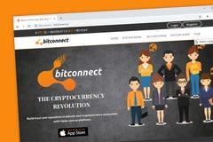 Bitconnect strony internetowej homepage, otwarte źródła wszystko w jeden bitcoin i crypto społeczności platforma, obraz royalty free