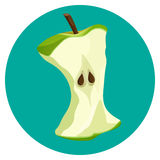 Bite apple core web button isolated on blue background Royalty Free Stock Images