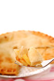 Bite of apple pie on a fork Royalty Free Stock Image