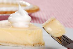 Bite of banana cream pie on a fork Royalty Free Stock Image