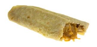 Bite Of Chimichanga Chicken Cheese Burrito Stock Photo