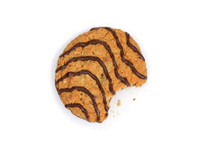 Bite from chocolate stripe cookie Stock Image