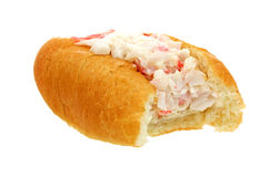 Bite Crabmeat Filled Finger Roll Royalty Free Stock Photography