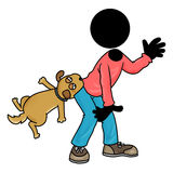 Bite by dog. Silhouette-man unlucky day - bite by dog Royalty Free Stock Photos