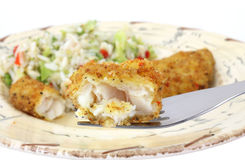 Bite of fish on fork. A small bite of breaded pollack  in the foreground with meal in a southwestern style dish in the background Royalty Free Stock Photos