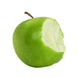 Bite green apple. Isolated on a white background, Clipping path Stock Photos
