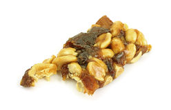 Bite of Honey Glazed Fruit and Nut Bar Stock Image