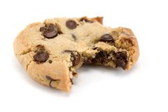 Bite out of Chocolate Chip Cookie Stock Photo