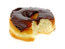 Bite Plain Raised Donut with Chocolate Icing Stock Photos