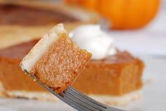 Bite of pumpkin pie Stock Photos