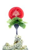 Bite of salad. Tomato slice and salad on fork with measure tape Stock Image