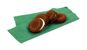 Bite Size Chocolate Cream Cookies Folded Napkin Royalty Free Stock Photo