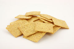 Bite size wheat crackers Stock Photography