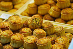 Bite Sized Mooncakes. Mooncakes are a Chinese pastry usually eaten during the Mid-Autumn Festival. The festival is for lunar worship and moon watching; moon Royalty Free Stock Photo