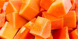 Bite Sized Papaya Fruit Close Up View I Royalty Free Stock Images