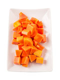 Bite Sized Papaya Fruit In Plate IV Royalty Free Stock Images