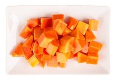 Bite Sized Papaya Fruit In Plate V Stock Photos