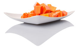 Bite Sized Papaya Fruit In Plate VI Stock Photos