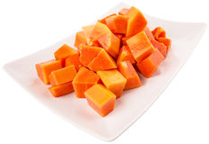 Bite Sized Papaya Fruit In Plate XI Stock Photography