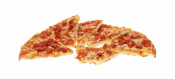 Bite and Slices Pepperoni Pizza Stock Images